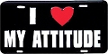 I Love My Attitude License Plate