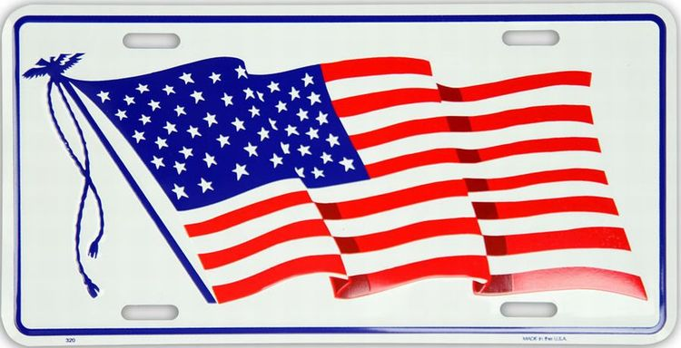 US Flag Waving License Plate