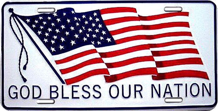 God Bless Our Nation License Plate
