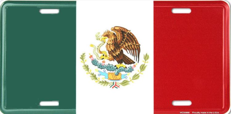 Mexican Flag License Plate