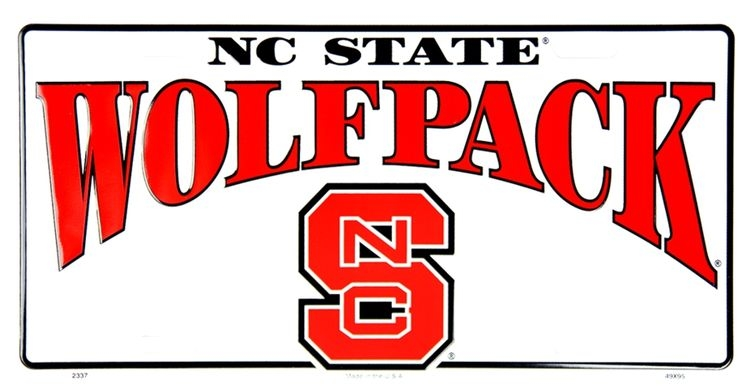 North Carolina State Wolfpack License Plate