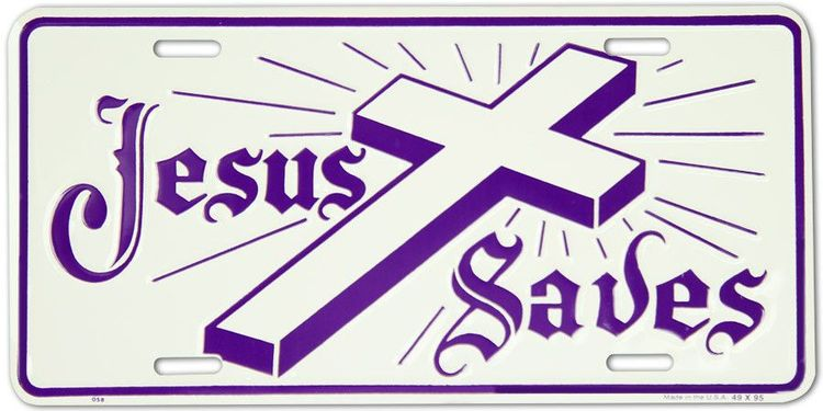 Lplpol Jesus Saves Cross Novelty License Plate Tag