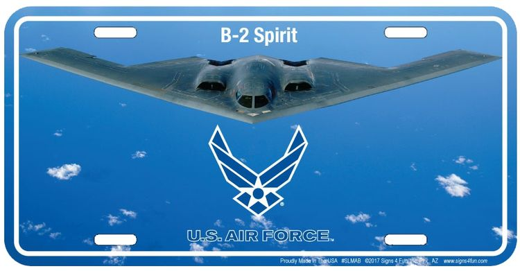 Made in USA Signs 4 Fun Air Force B-2 License Plate 12 x 6