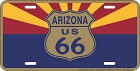 Arizona Route 66 w/ State Flag License Plate