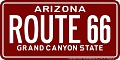 Arizona 80-96 Route 66 License Plate