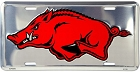 Arkansas Razorbacks Polished License Plate