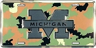 University of Michigan Wolverines Camo License Plate