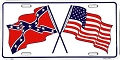 US & Confederate Flag License Plate