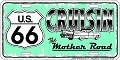 Route 66 Cruisin Turquoise License Plate