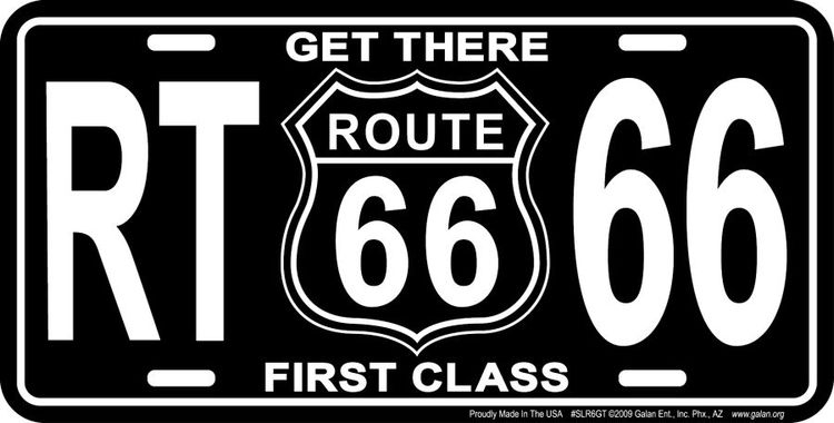 Get There Route 66 License Plate