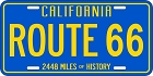 Route 66 Blue License Plate