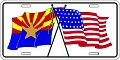 Arizona and US Flags License Plate