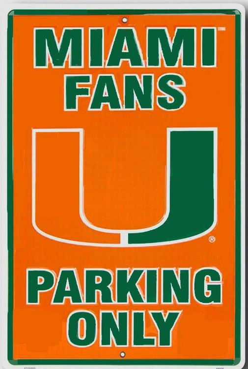 Miami Hurricanes Large Parking Sign