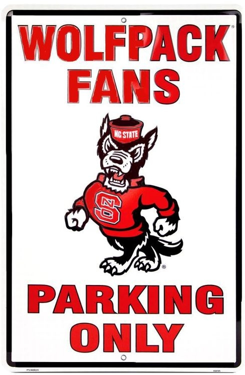 North Carolina State Wolf Pack Large Parking Sign
