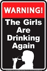 Girls Drinking Sm. Parking Sign