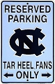 North Carolina Tar Heels Sm. Parking Sign