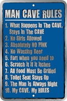 Man Cave Rules Sm. Parking Sign