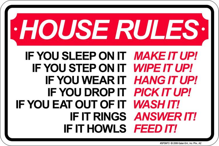 Signs 4 Fun SPSTE2 Room Rules Small Parking Sign