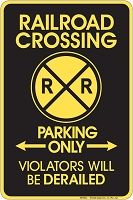 R/R College Crossing Sm. Parking Sign