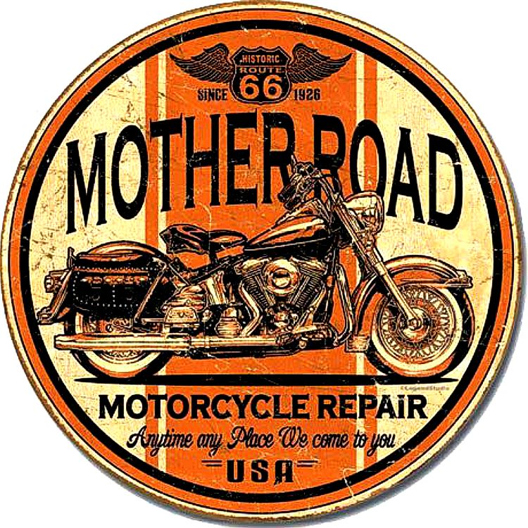 Route 66 Motorcycle Repair Round Sign