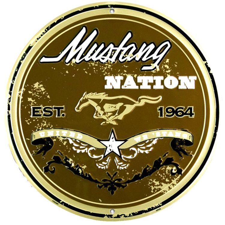 Ford Mustang Weathered Nation Round Sign