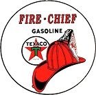 Texaco Fire Chief Gasoline Oil Round Sign