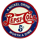 Pepsi Nickel Drink Round Sign