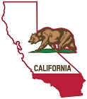 CA State With Flag Large Sticker