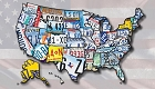 US Map License Plates Sticker