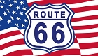 Route 66 Shield and waving Flag Sticker