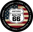 Route 66 Round Shield And Flag Large Sticker