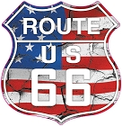 Route 66 US Hwy Shield With Flag Small Sticker