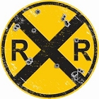 Railroad with Bullet Holes 24 inch Large Round Sign