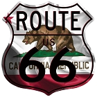Route 66 Californa Flag Shield Sign