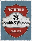 Smith & Wesson Protected By Metal Tin Sign