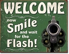 Smile for the Flash Metal Tin Sign