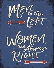 Men to the Left Metal Tin Sign