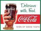 Coke - Delicious with Food Metal Tin Sign