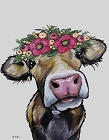 Hazel the Cow Metal Sign
