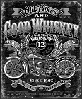 Good Whiskey & Bike Metal Tin Sign