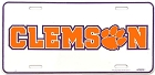 Clemson Tigers College License Plate
