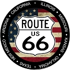 Route 66 Flag Round Sign