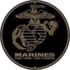 US Marines Gold Emblem 12 inch Round Sign