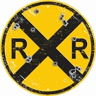 Railroad with Bullit Holes Round Sign