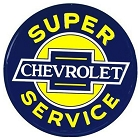Chevy Super Service 24 inch Large Round Sign