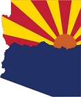AZ Flag with Mountains Sm Sticker