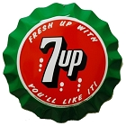 7 Up Molded Bottle Cap Die Cut Sign