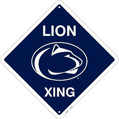 Penn State Lion College Crossing Sign