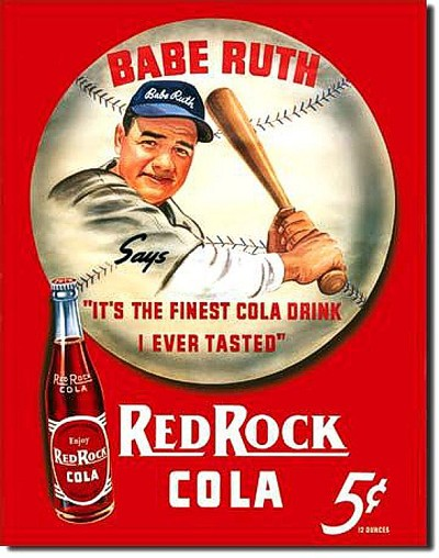 Babe Ruth Red Cola Metal Tin Sign