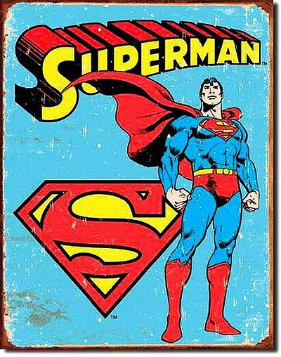 Superman with Logo Metal Tin Sign